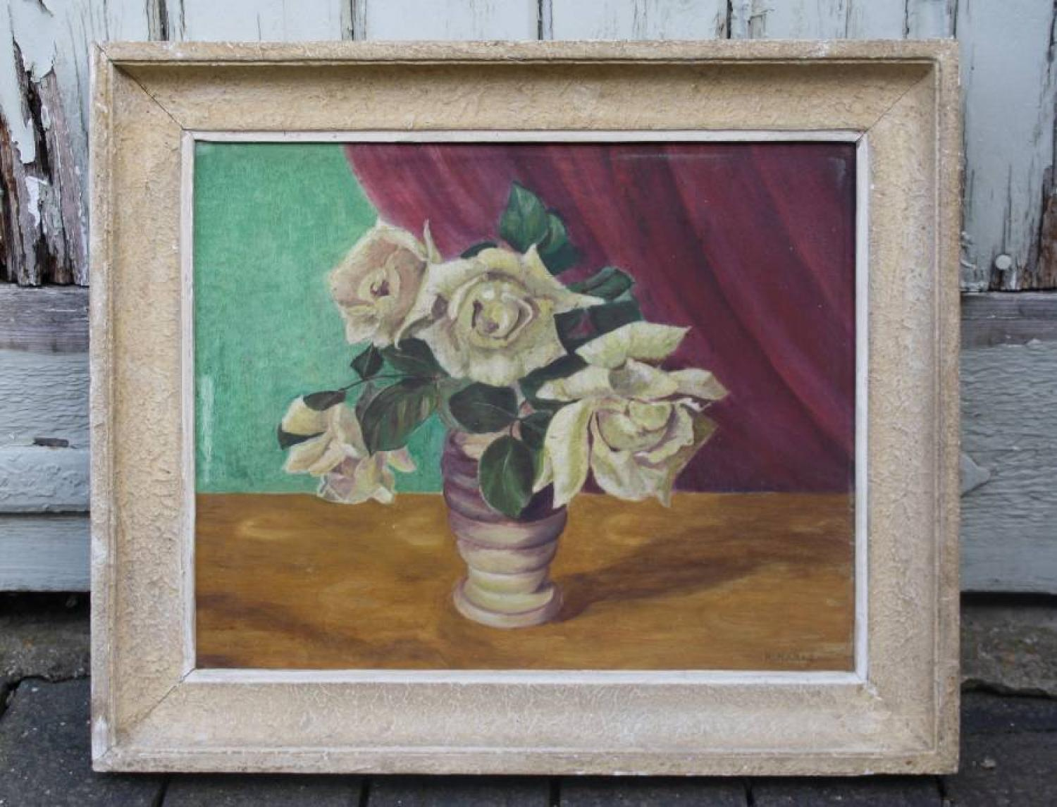 Oil on board - roses