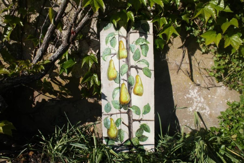 Handpainted pears on old floorboards