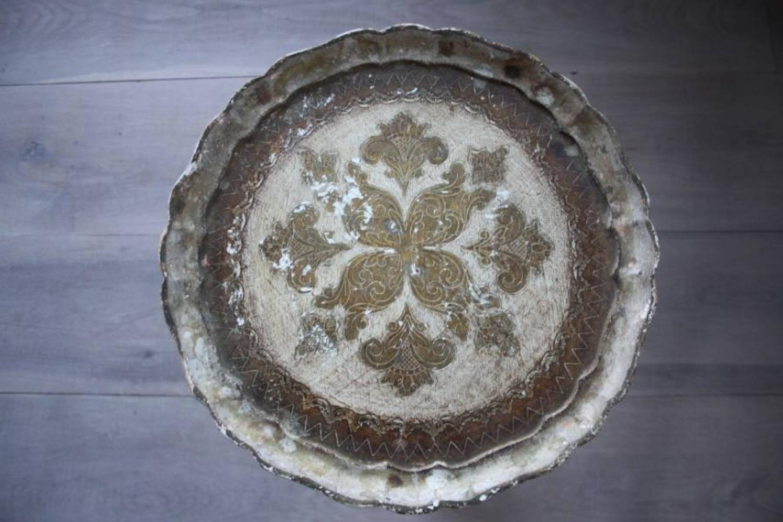 Italian circular gilt/cream table