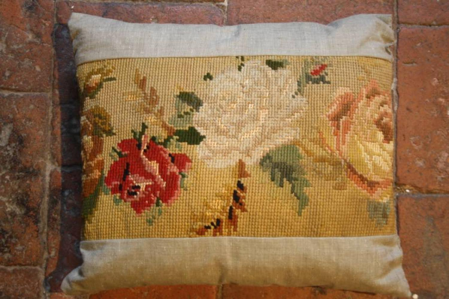 Tapestry and Linen Cushion