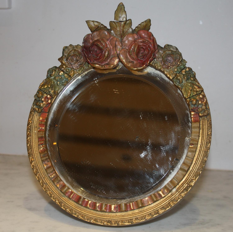 Decorative Round Floral Mirror
