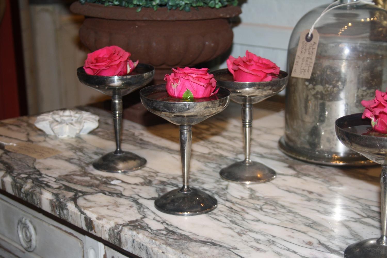 Set of seven plated goblets
