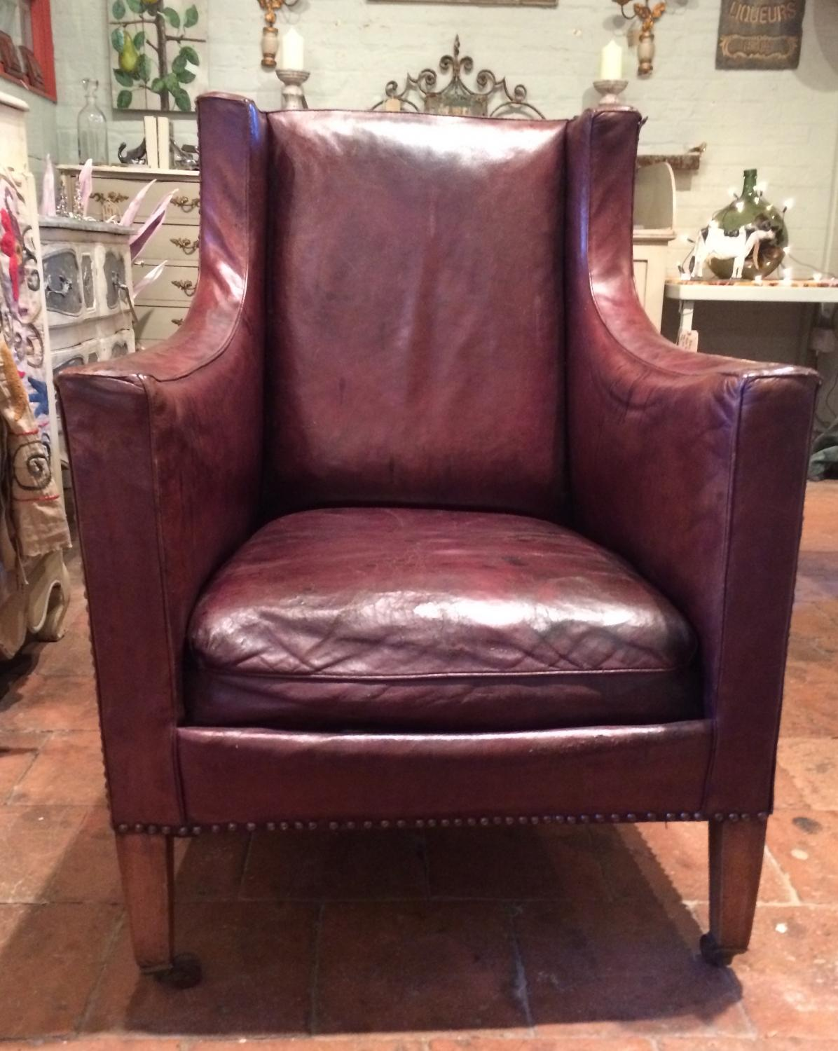 French Leather Armchair - 20's/30's