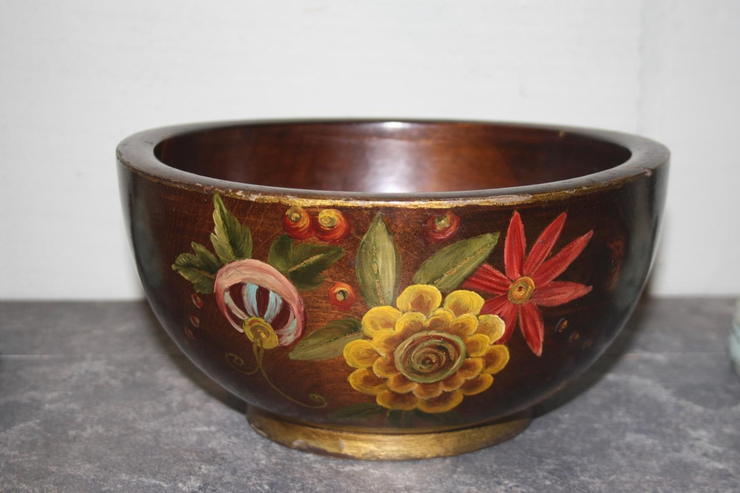 Handpainted Floral Wooden Bowl