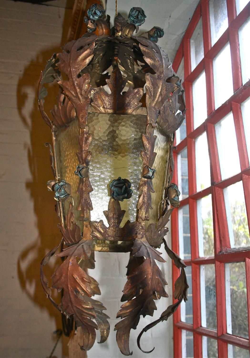 Italian Gilt Lantern with painted blue flower
