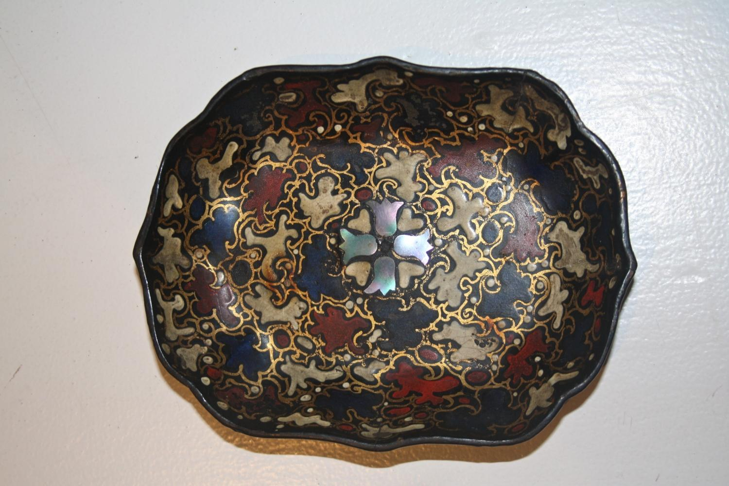 Papier Mache Dish with Mother of Pearl Inlay