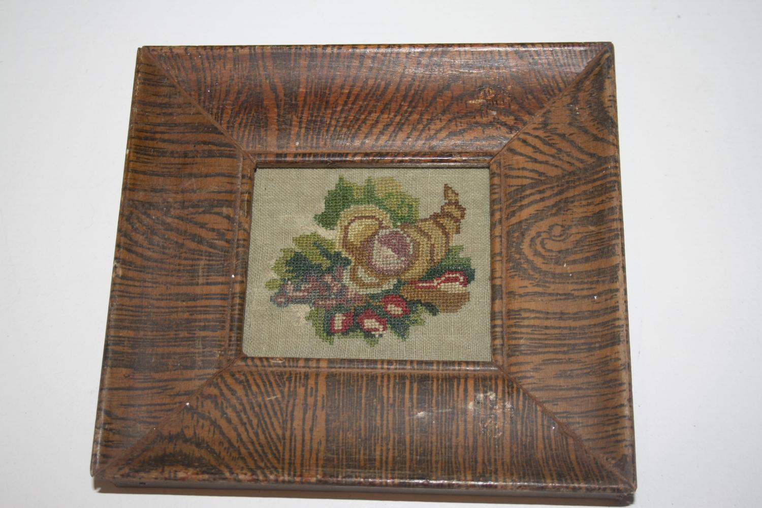 C19th Floral embroidery in frame