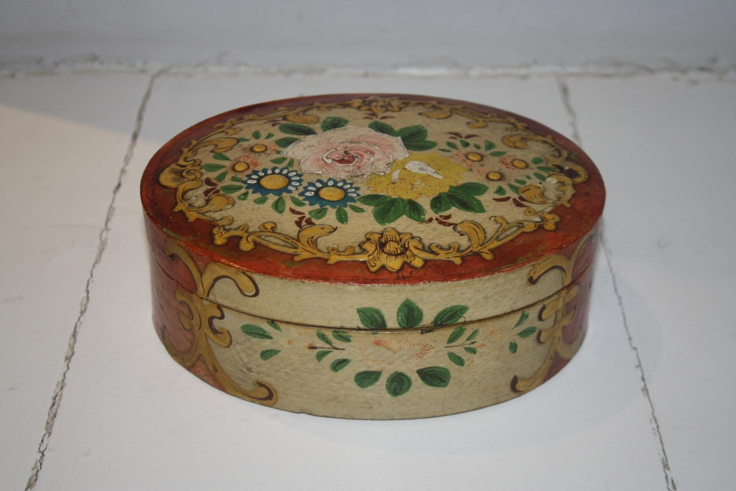 Handpainted C19th Oval Floral Box