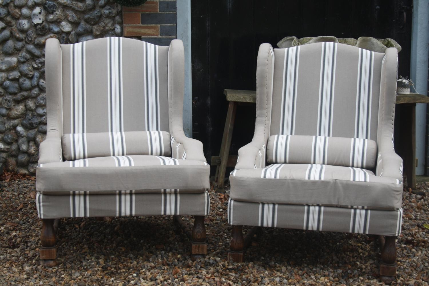Pair of 1950's reupholstered armchairs