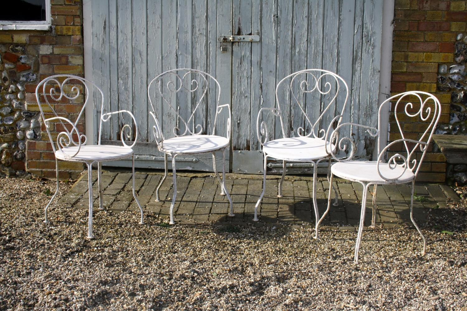 Set of four French garden chairs