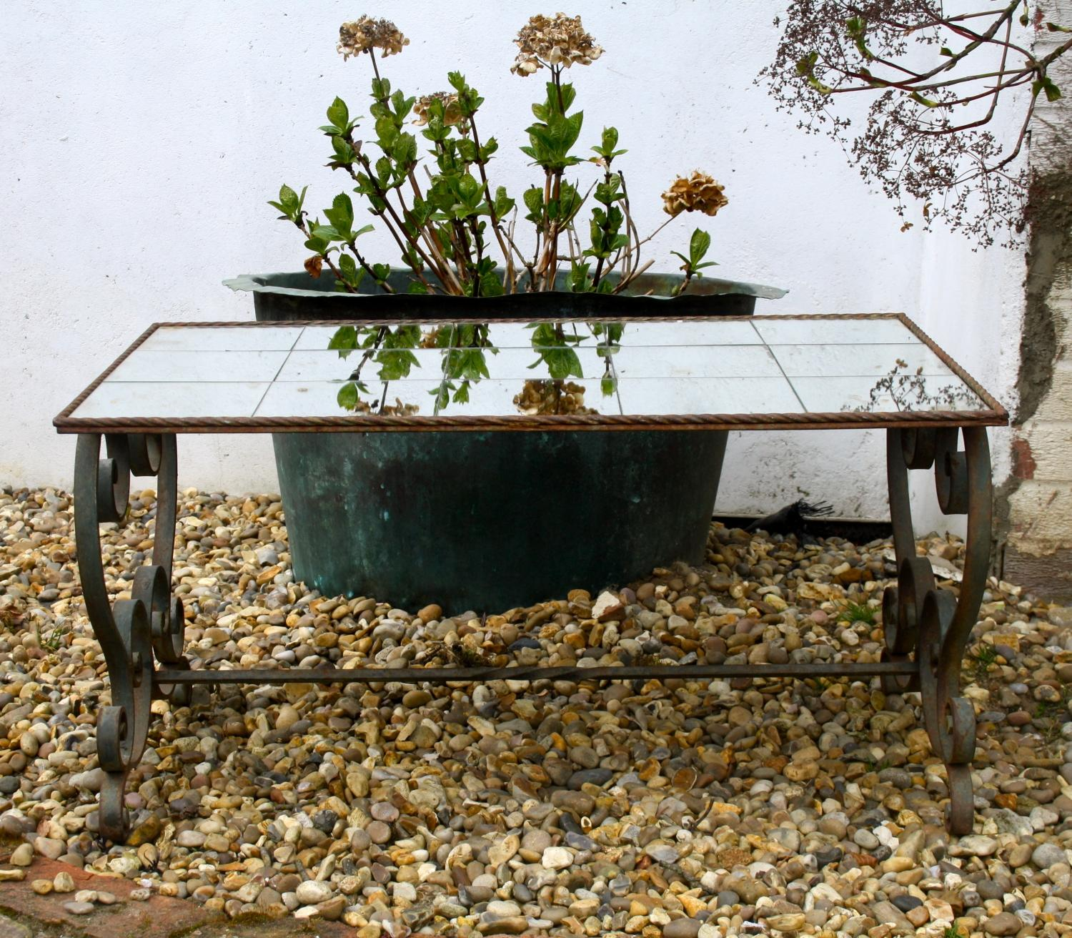 Wrought Iron Table with Mirrored Top
