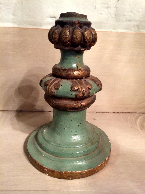 Green/Gilt wooden candlestick - 19th C
