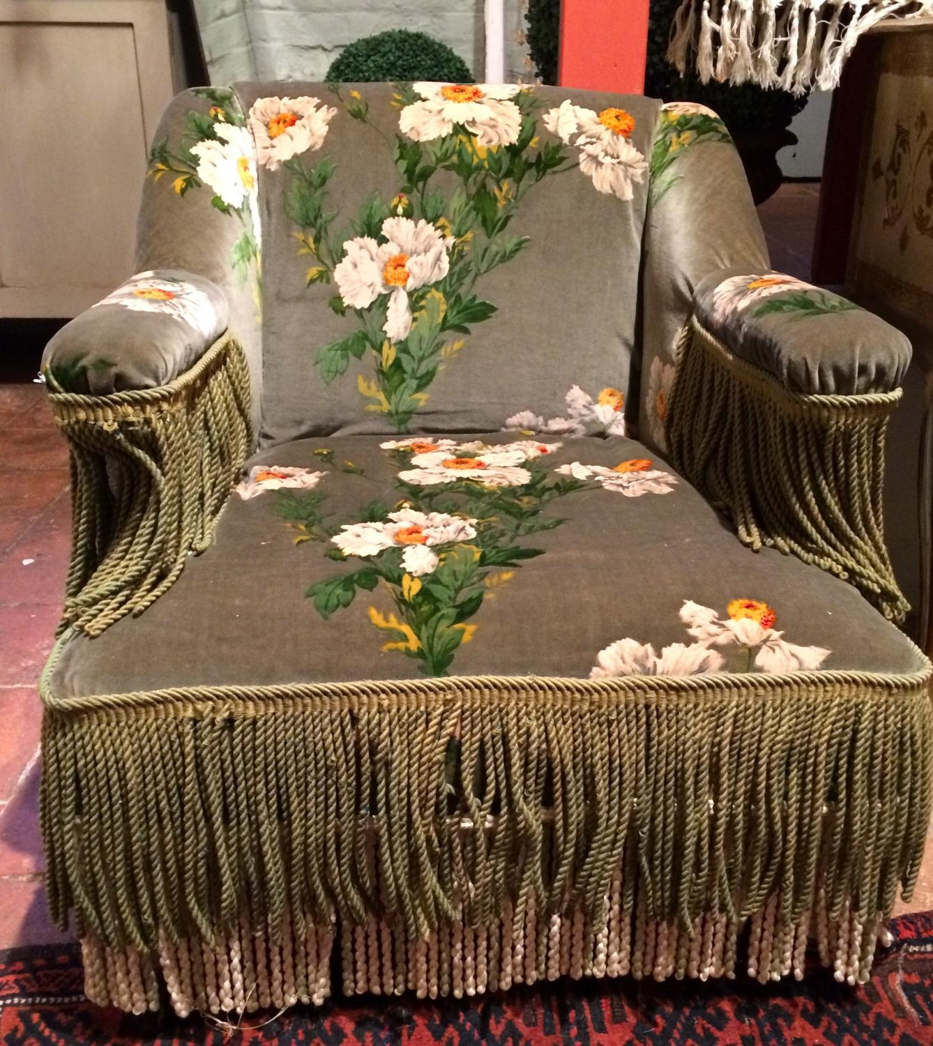 Armchair with vintage floral fabric