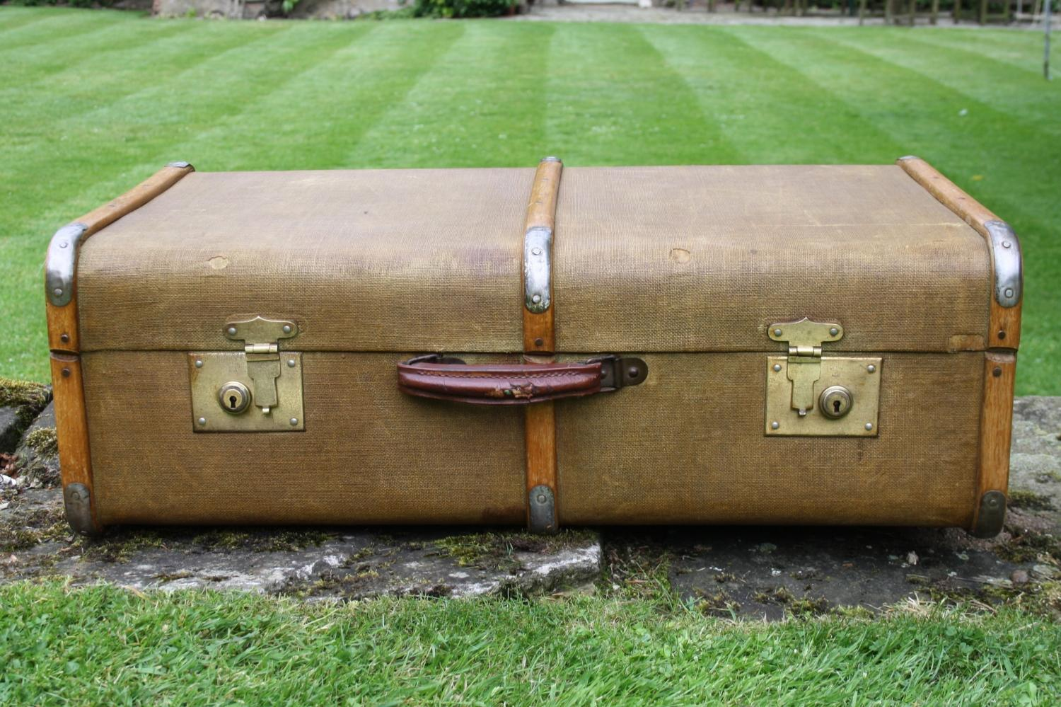 Vintage Wooden and Metal Bound Trunk