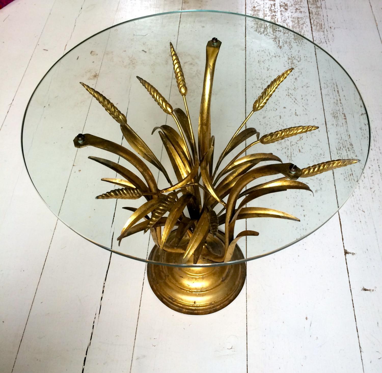 1950's Italian Gilt Wheatsheaf Side Table