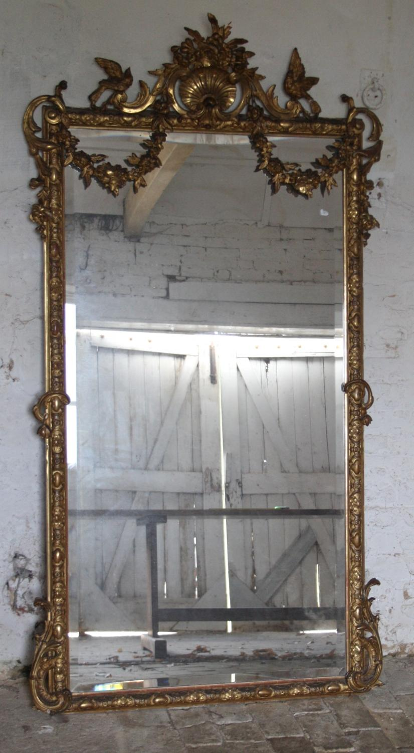Large French gilt mirror - C19th