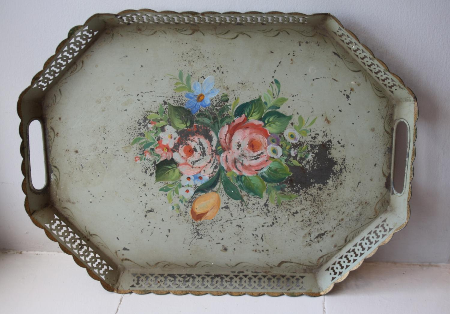 French floral toleware tray