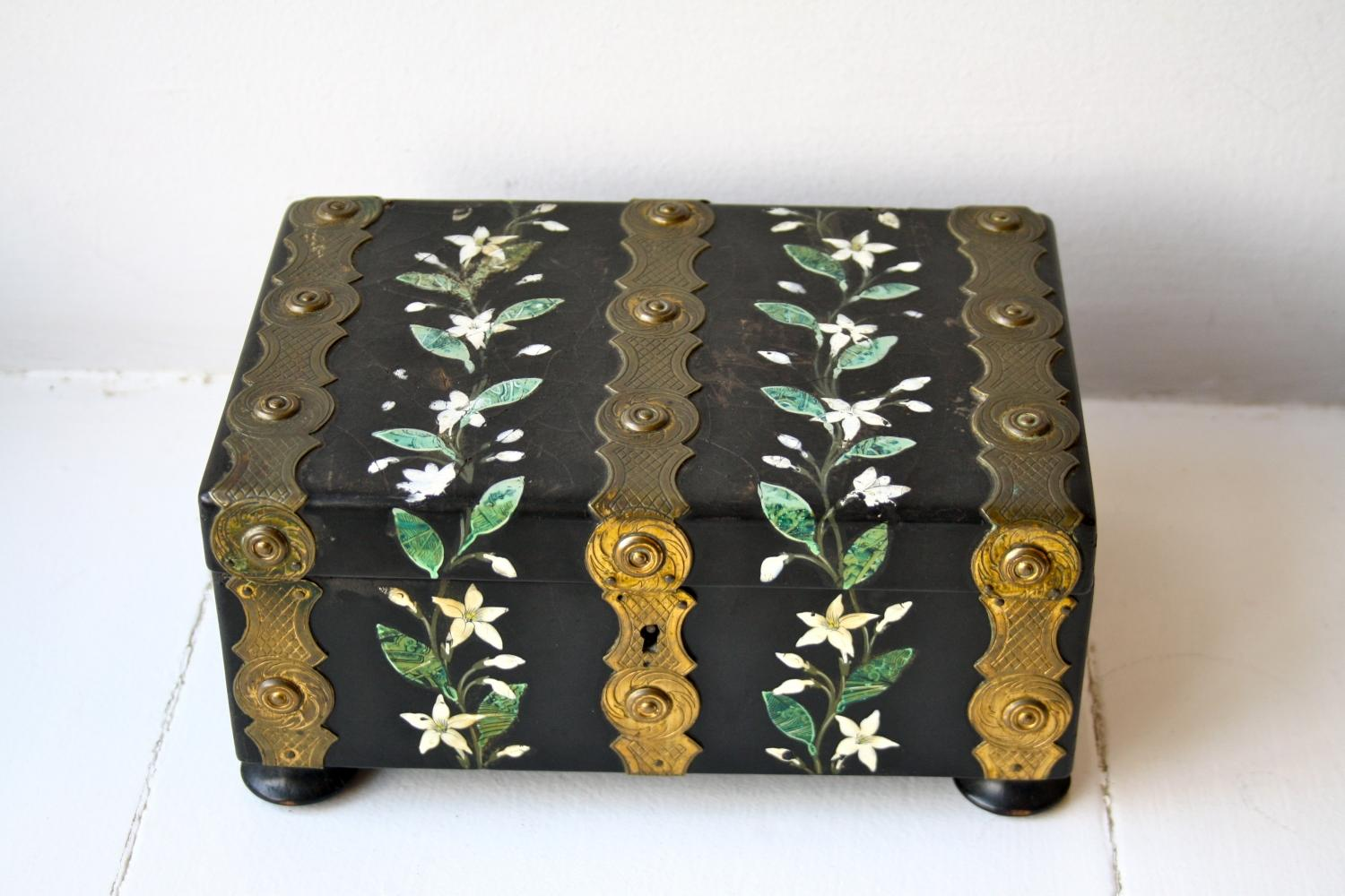 Handpainted Box with Brass Decoration