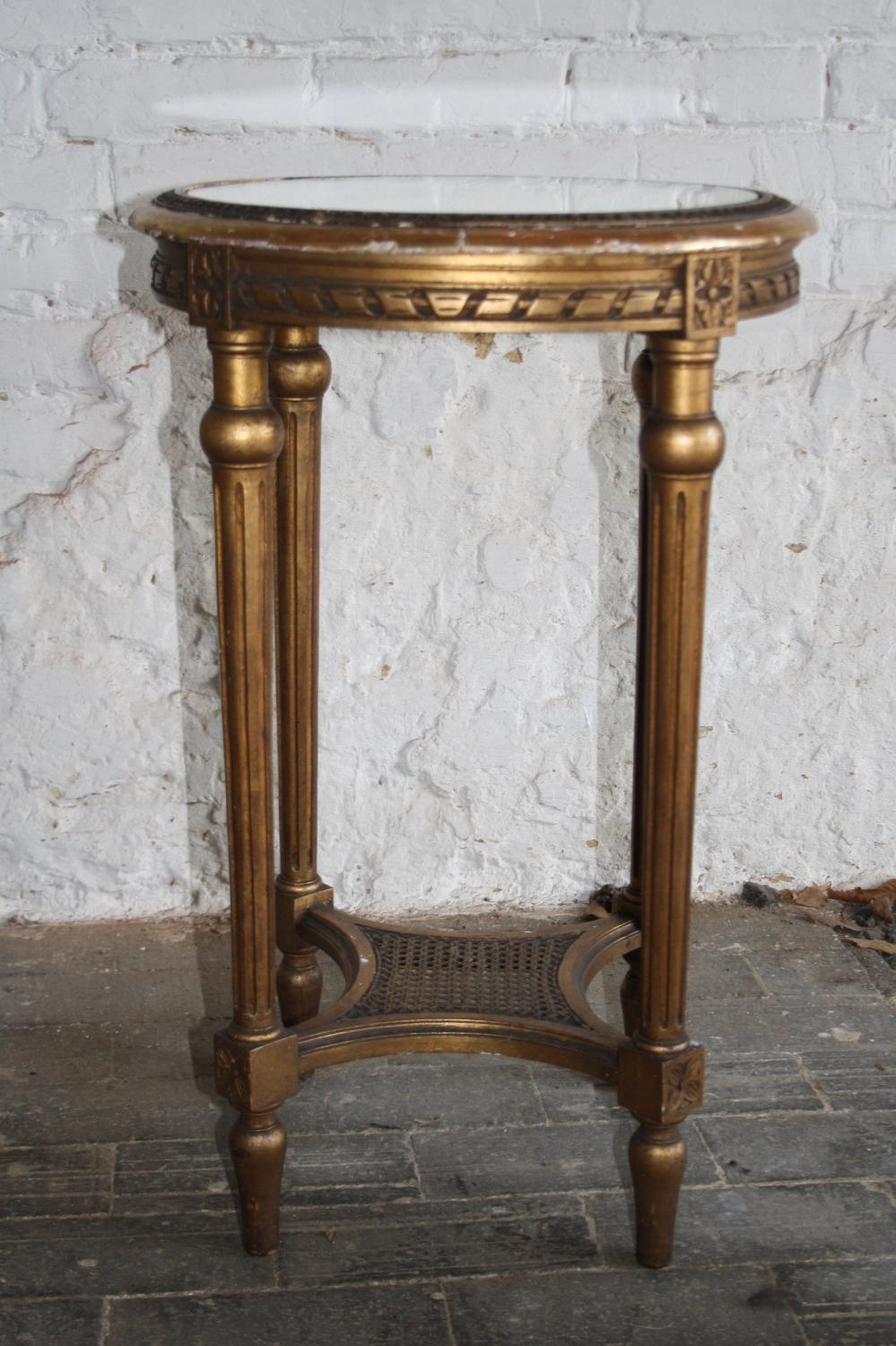 Antique gilt bergere French table