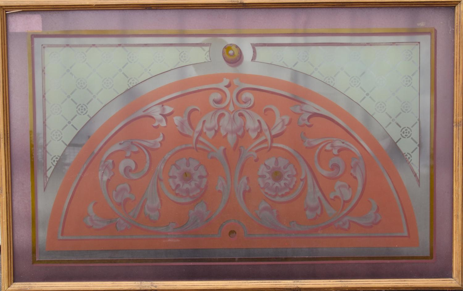 Stained glass window in frame