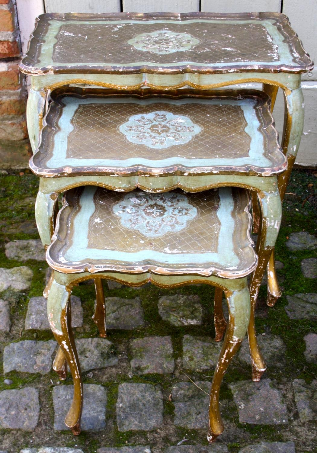 Nest of three Florentine tables