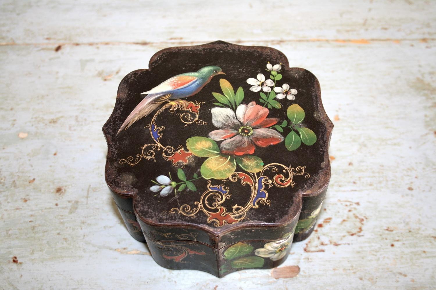 Tin/tea caddy with handpainted birds & flower