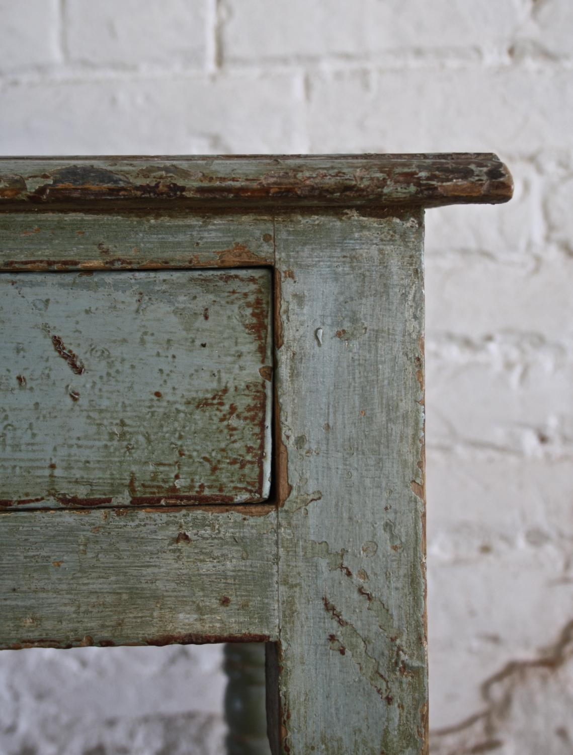 19th Century green/blue pine side table