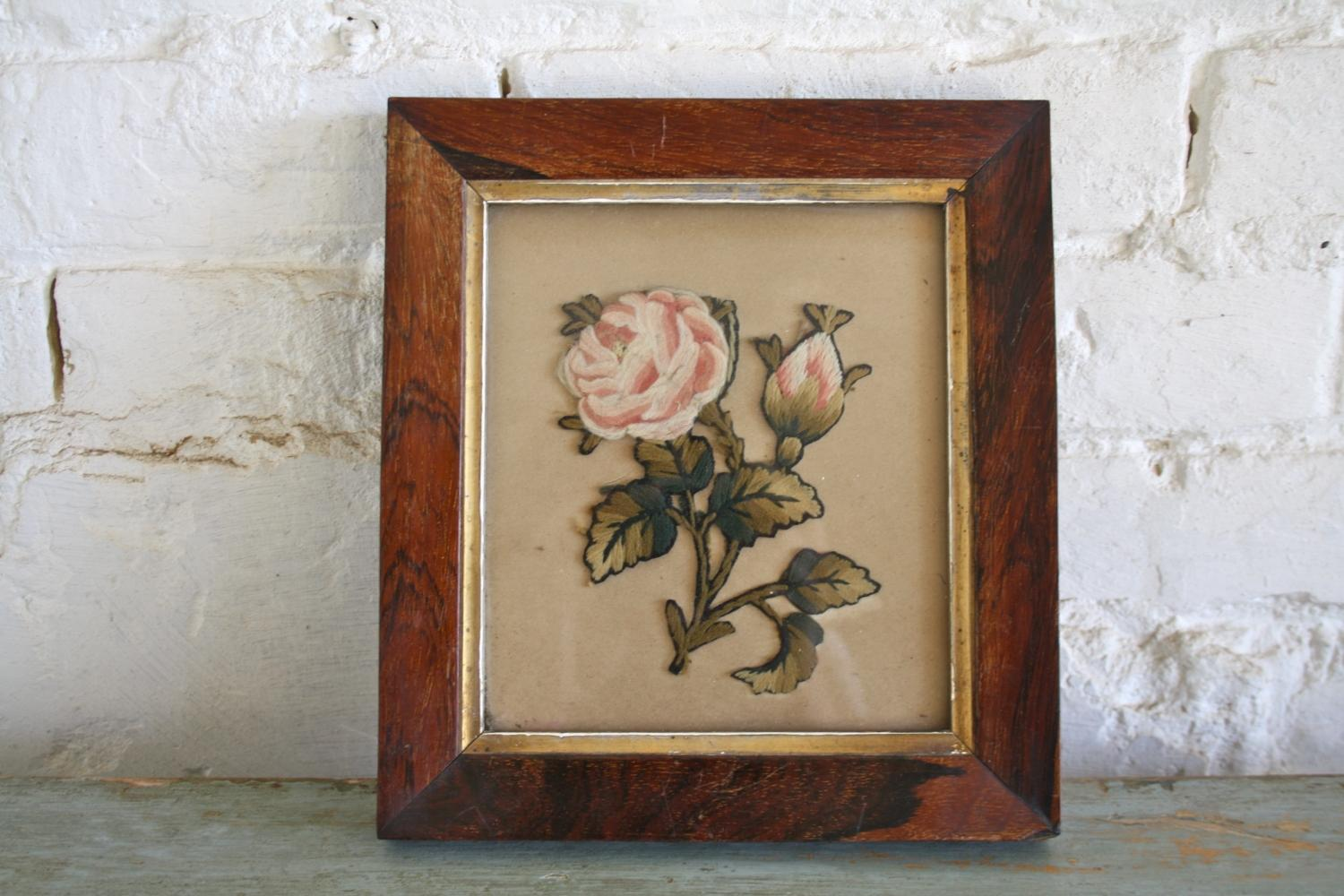 19th Century Embroidery in Rosewood Frame