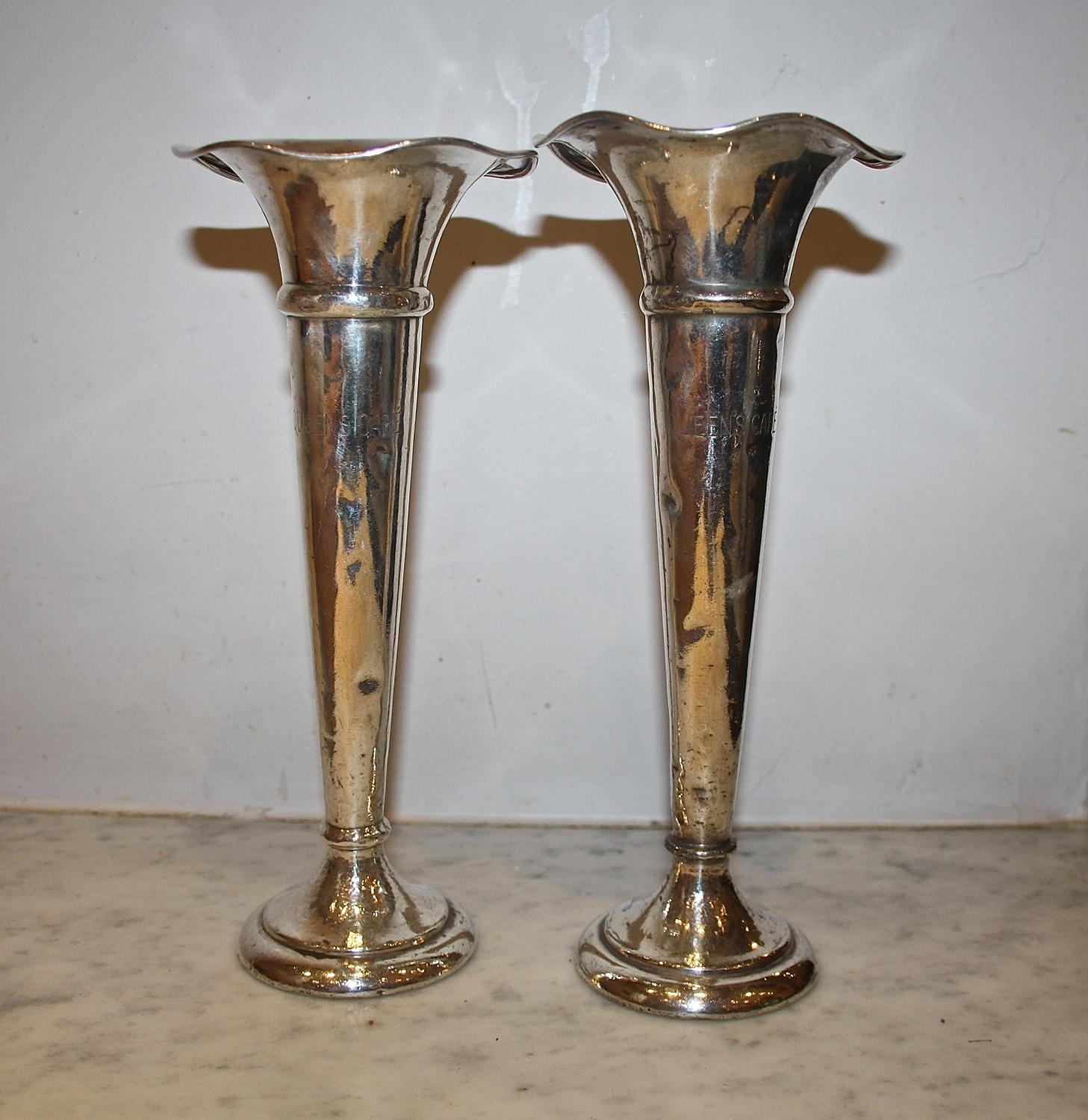 Near pair of plated 30's tearoom vases
