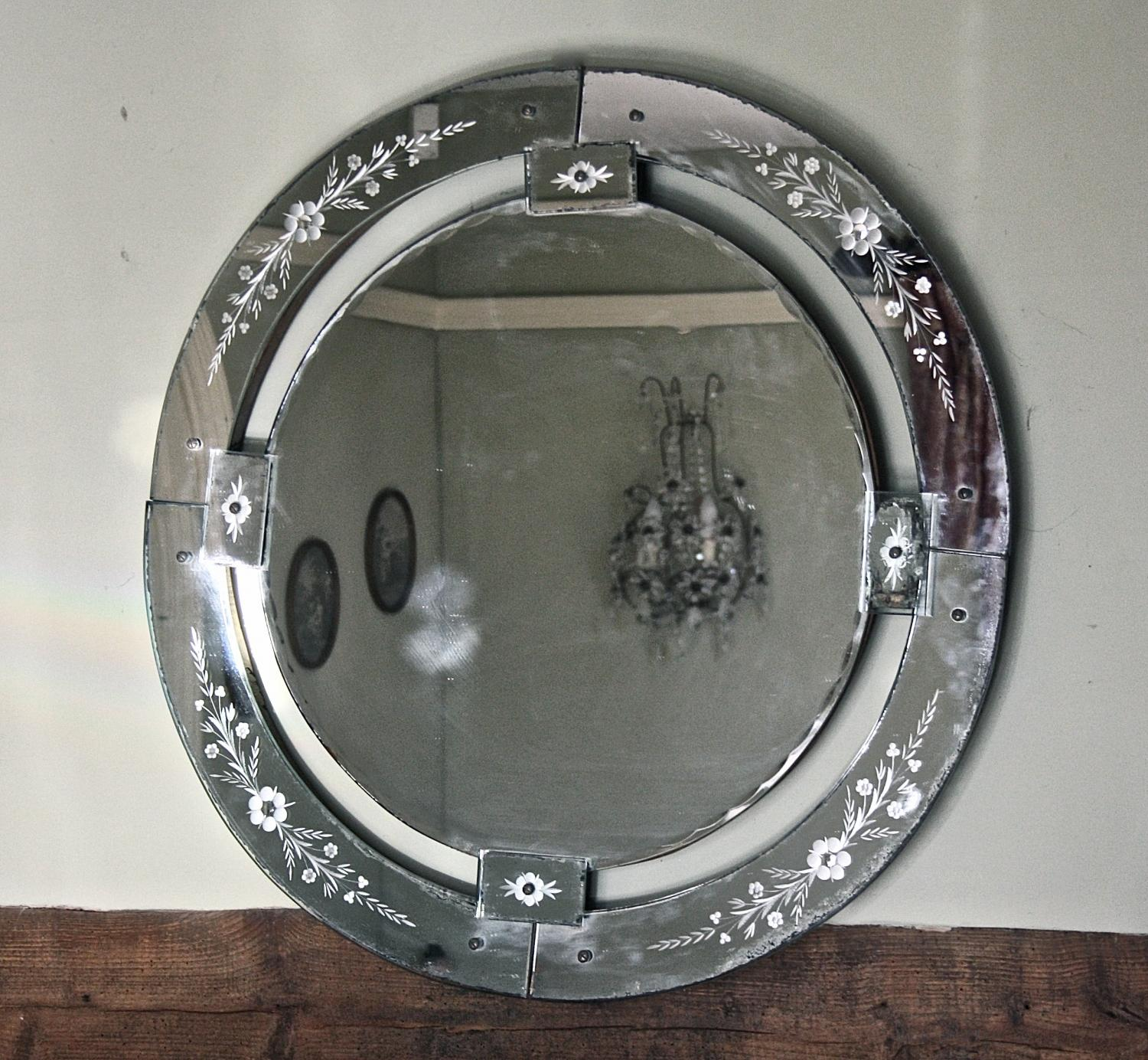 Large round venetian mirror in mirrors for Big circle mirror