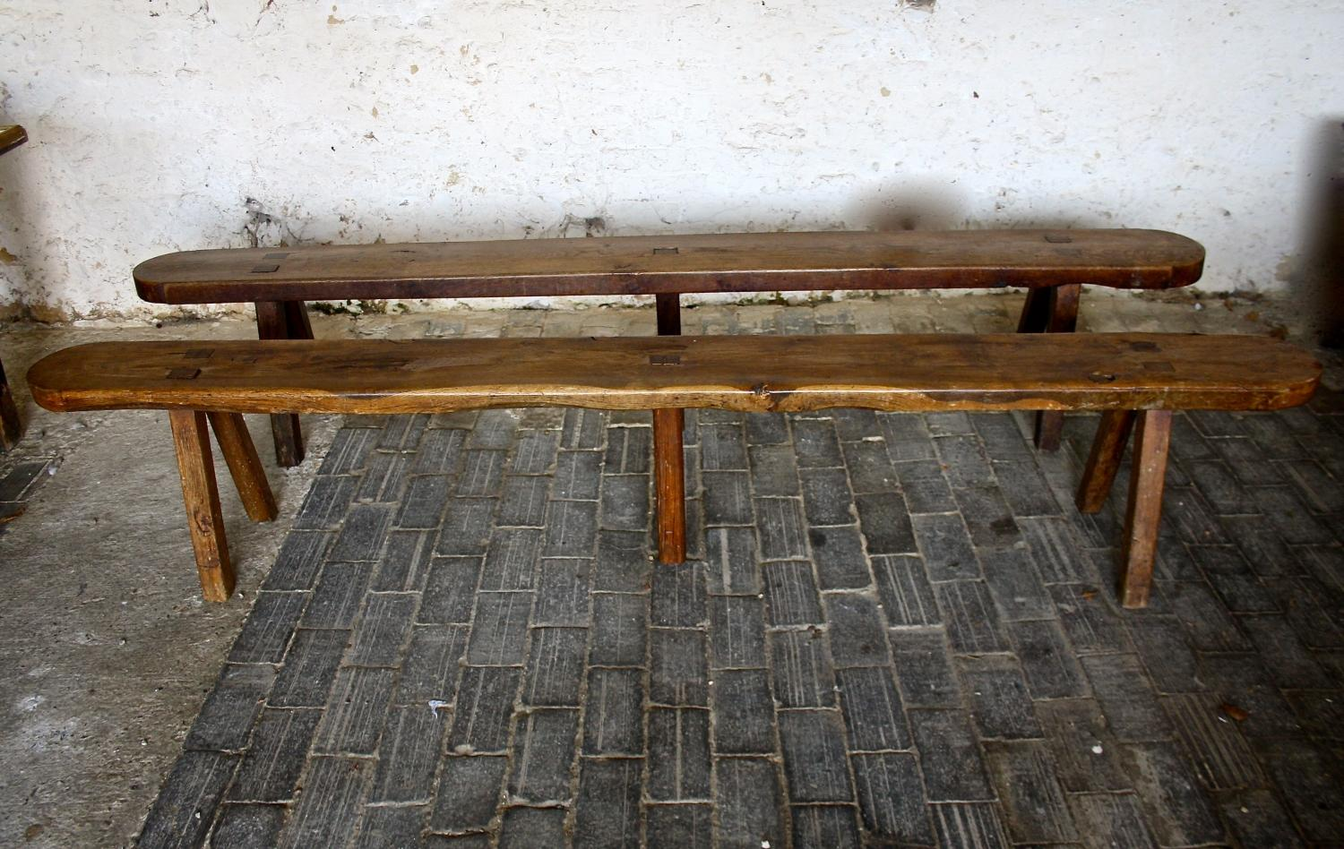 Pair of 19th Cent Oak Benches