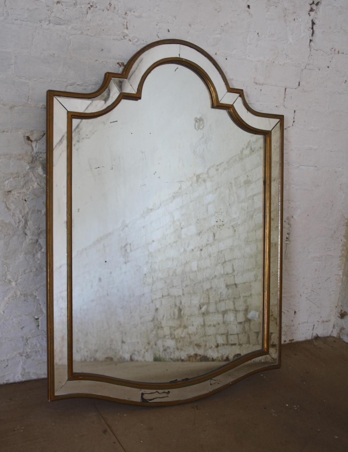 Large 1950's shield shaped mirror