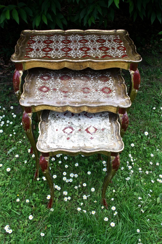 Nest of 1950's Florentine tables