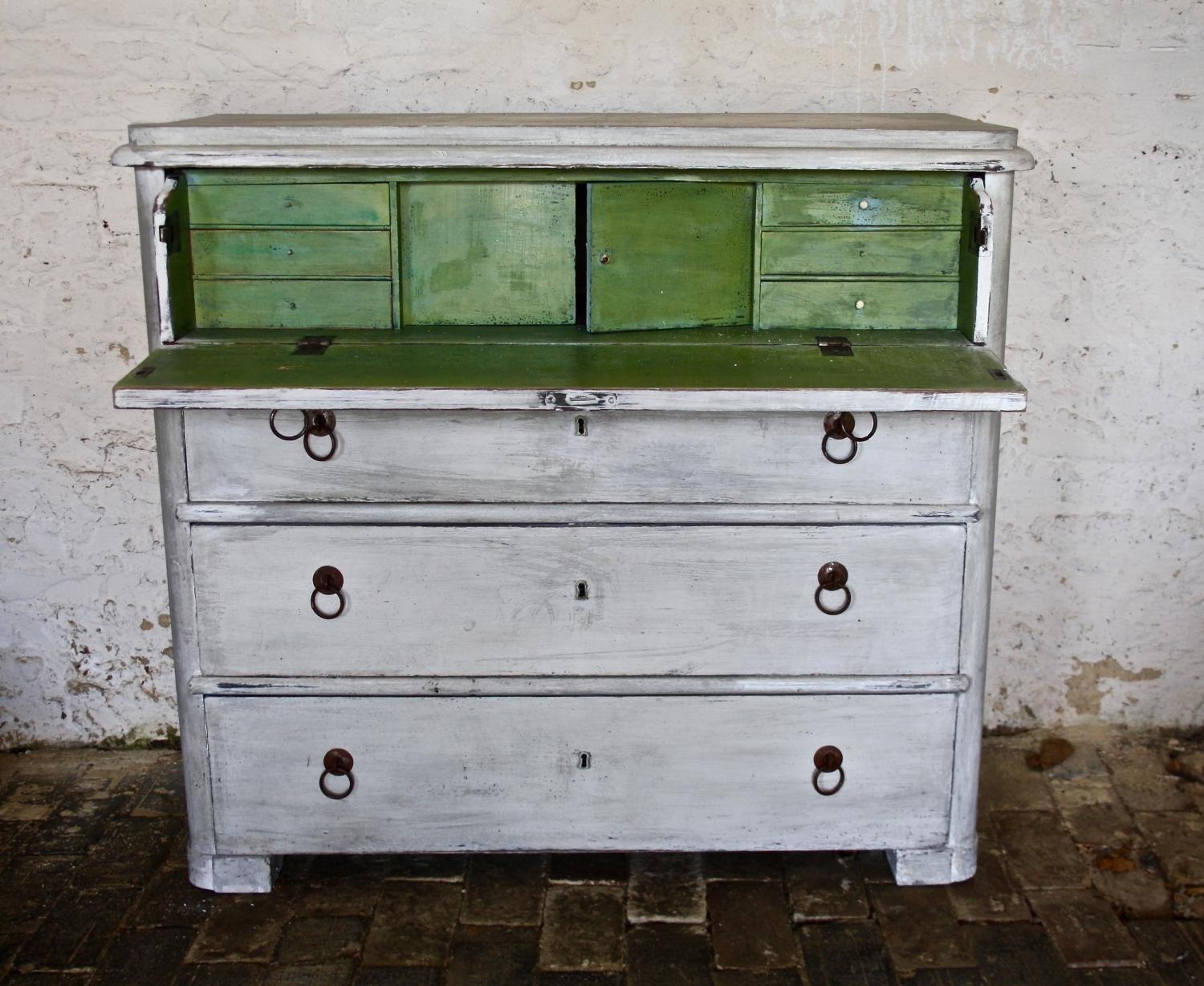 19th Century painted chest of drawers/desk