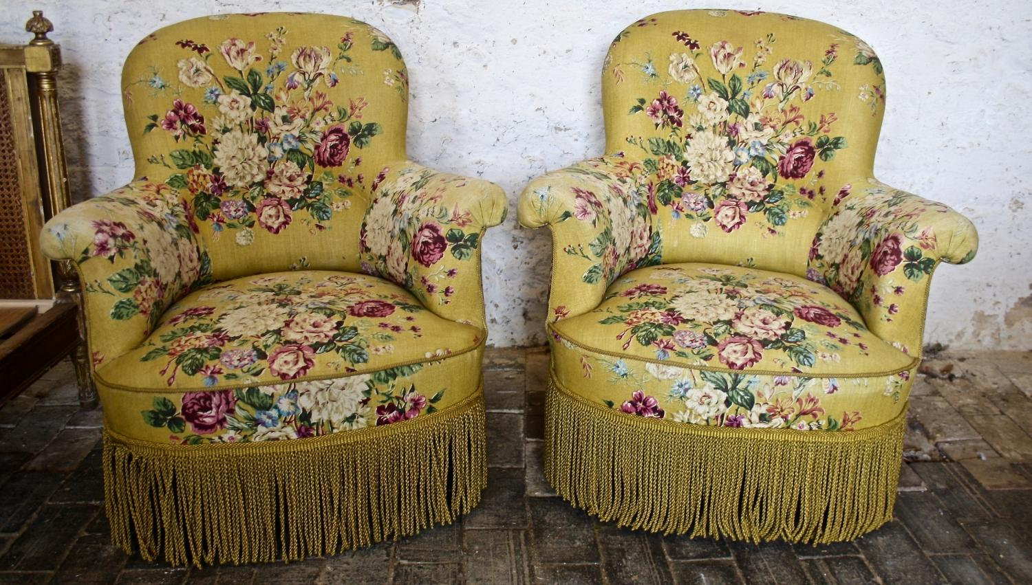 Pair of floral armchairs