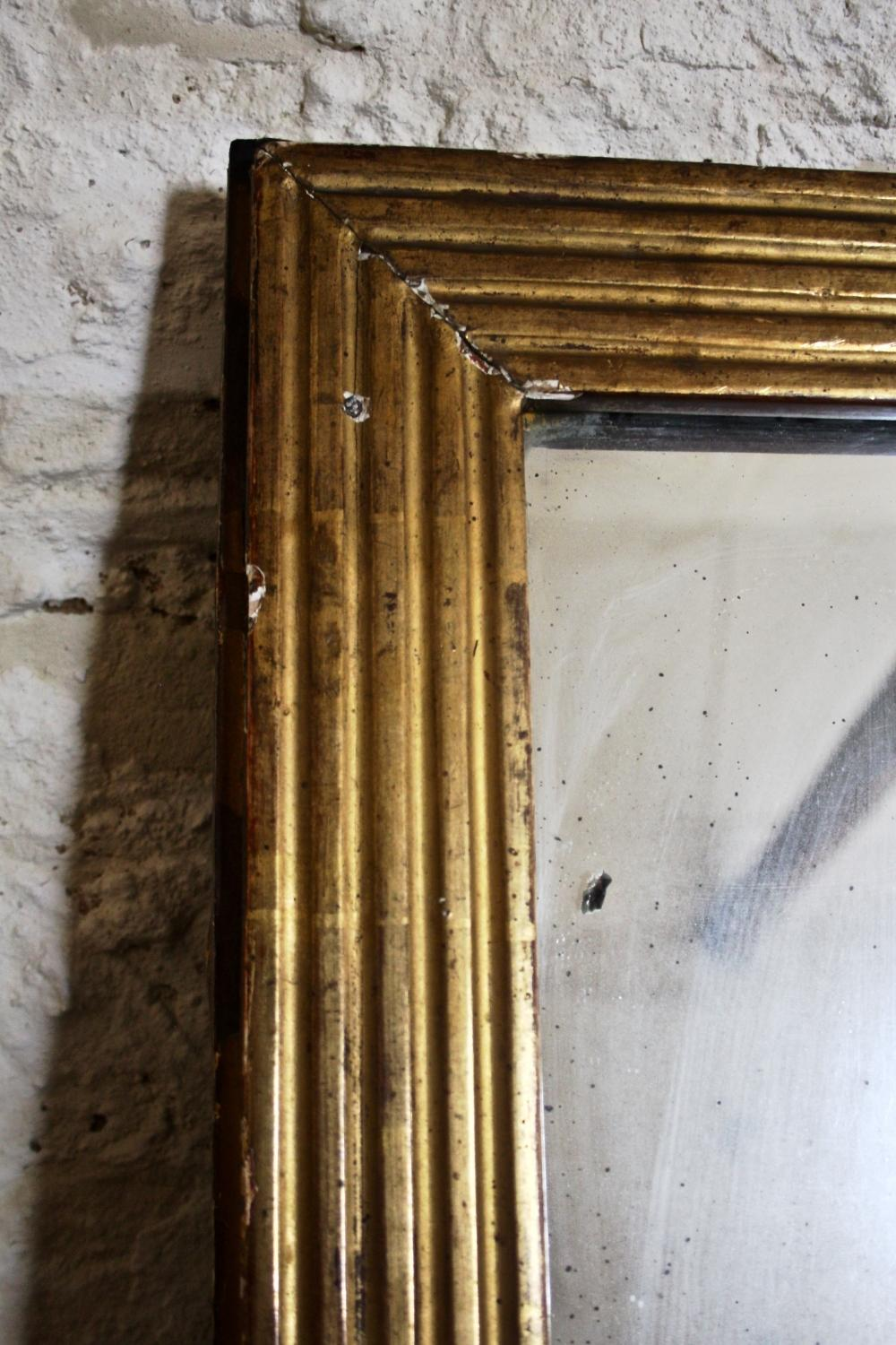 French Gilt Reeded Mirror