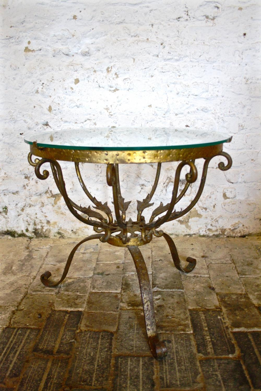 1960's Spanish glass topped coffee table