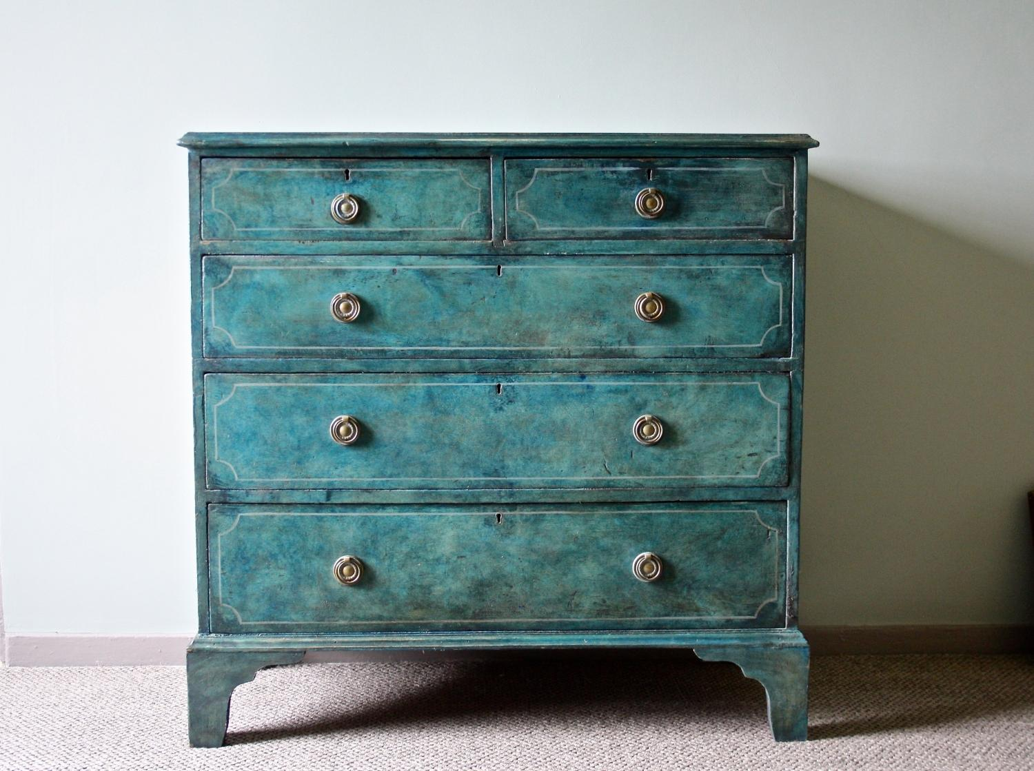 Captivating Georgian Painted Chest Of Drawers
