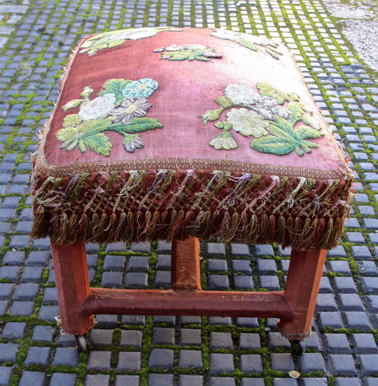 Victorian velvet covered stool