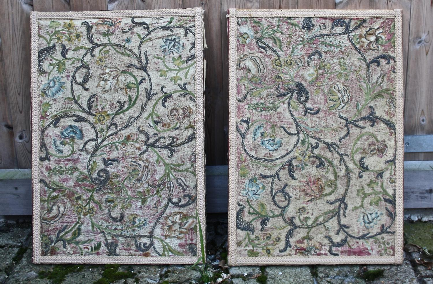 Pair of panels with C17th/18th fabric