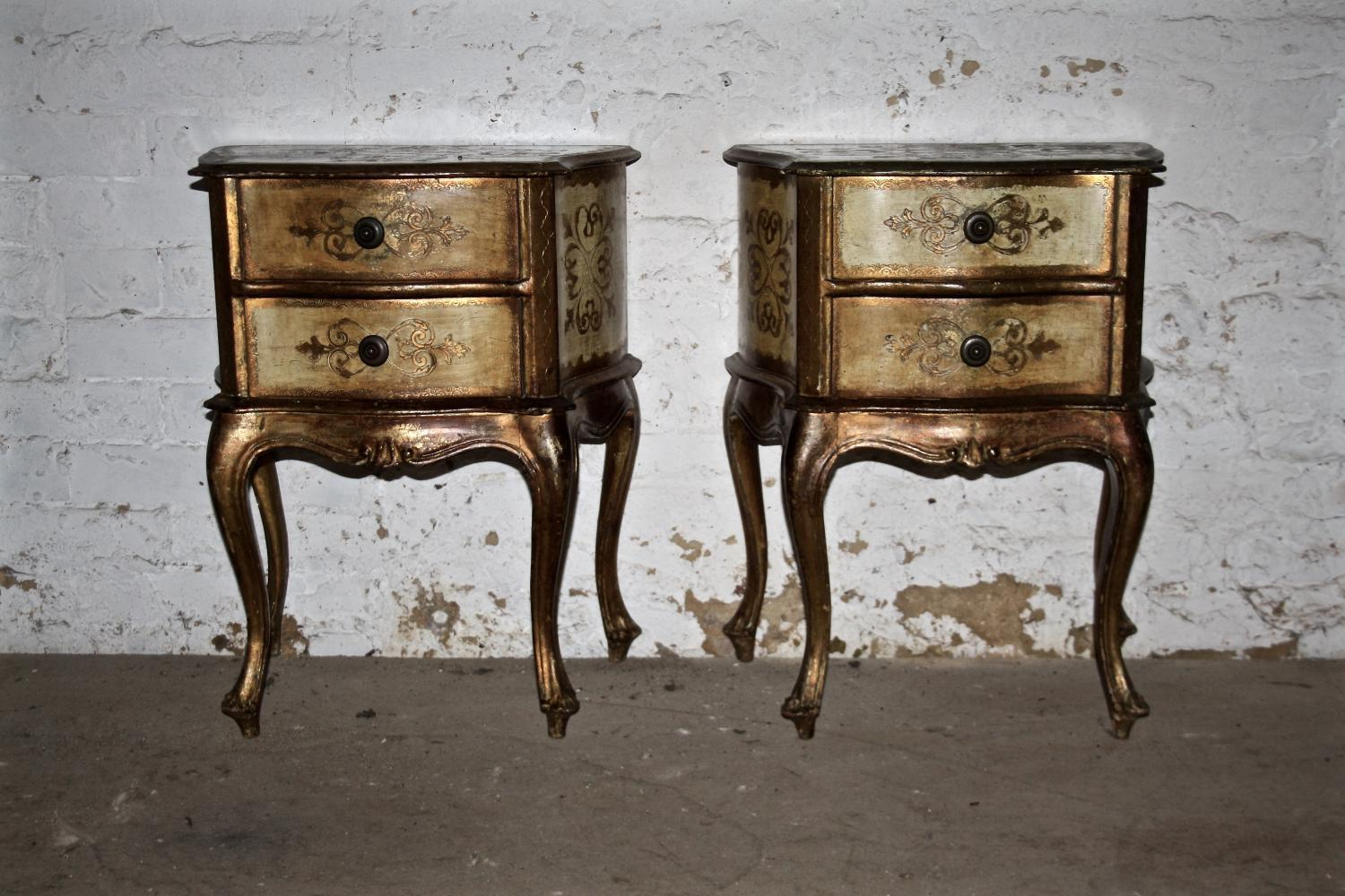Pair of 1950's Florentine Bedside Tables