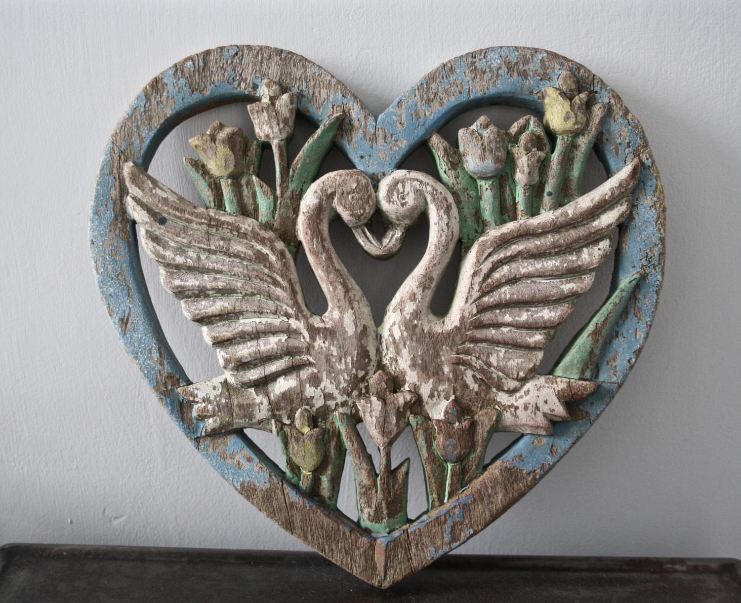 Wooden heart with birds