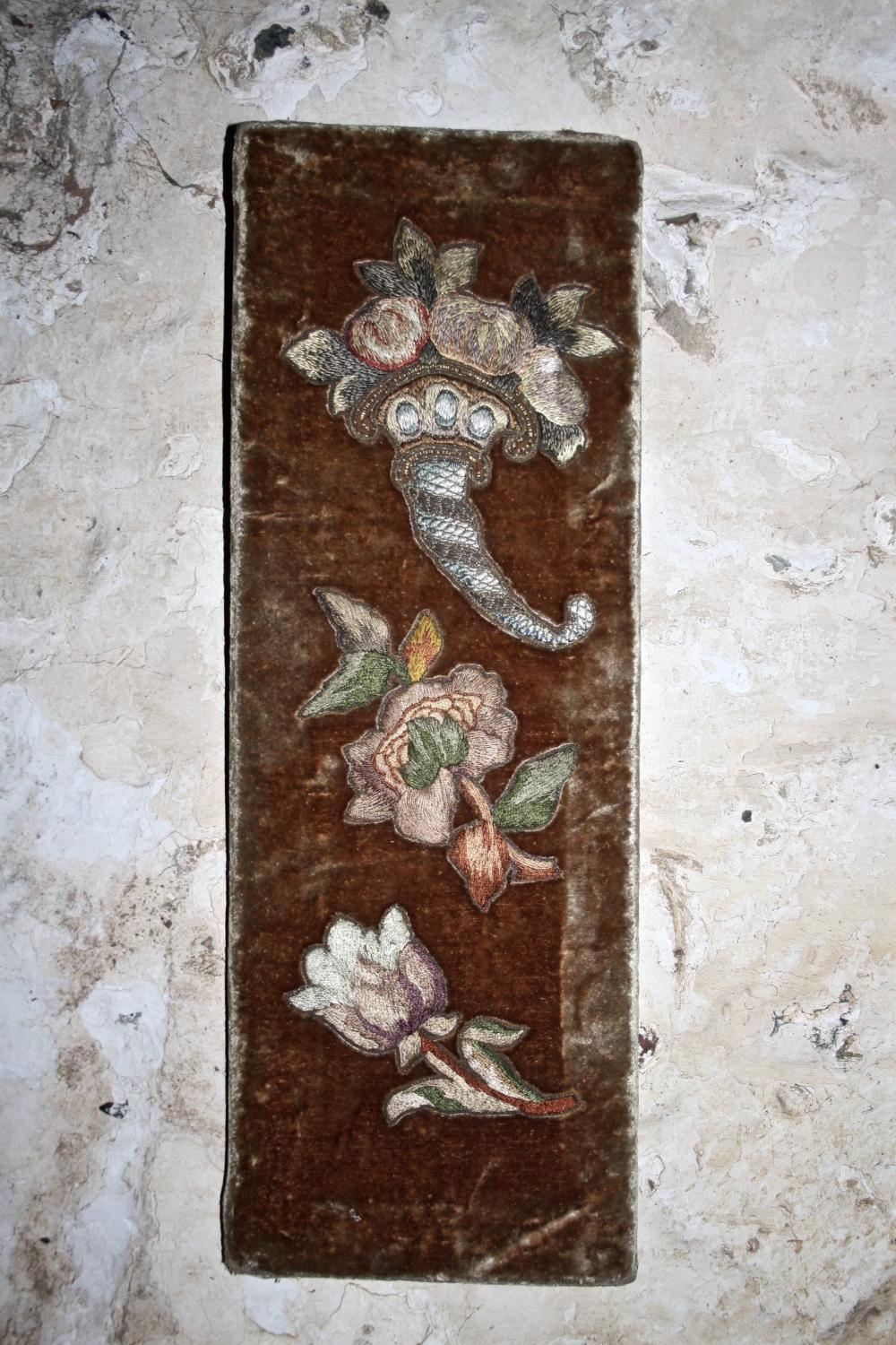 Velvet panel with silk embroidery