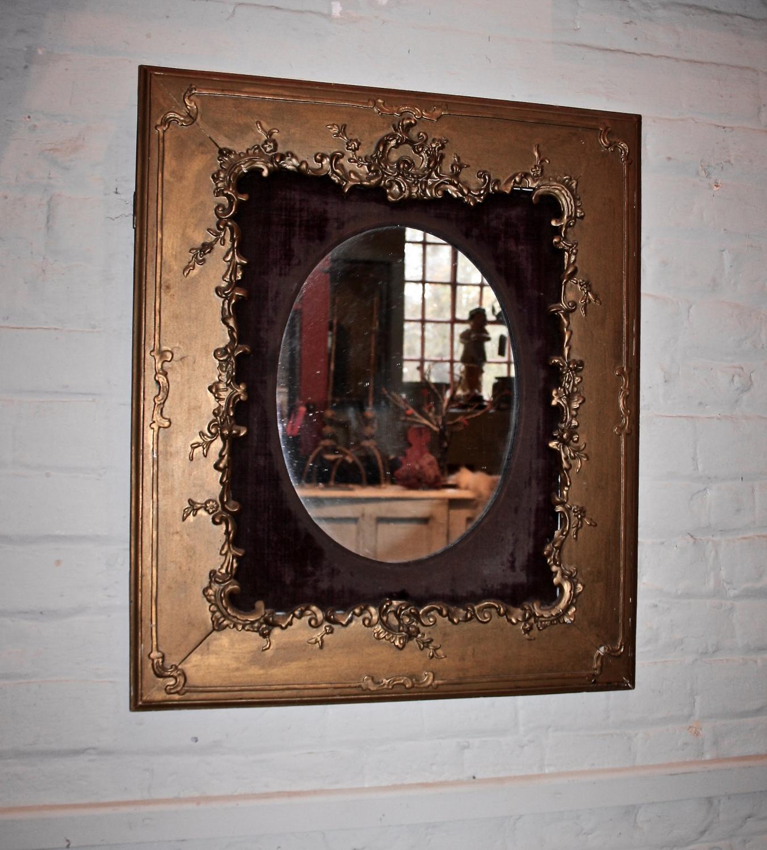 Gilt framed Mirror with velvet