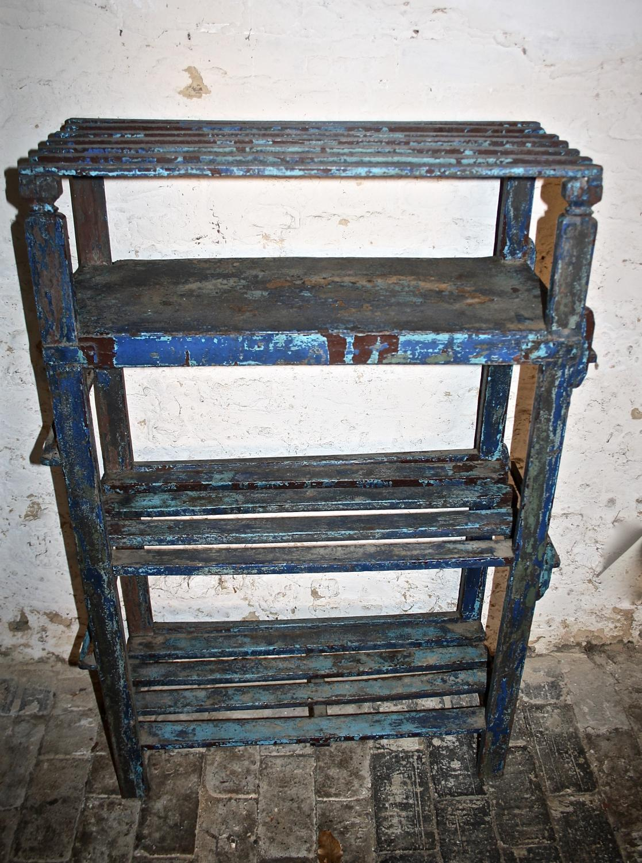 Blue painted wooden shoe rack/bookshelves