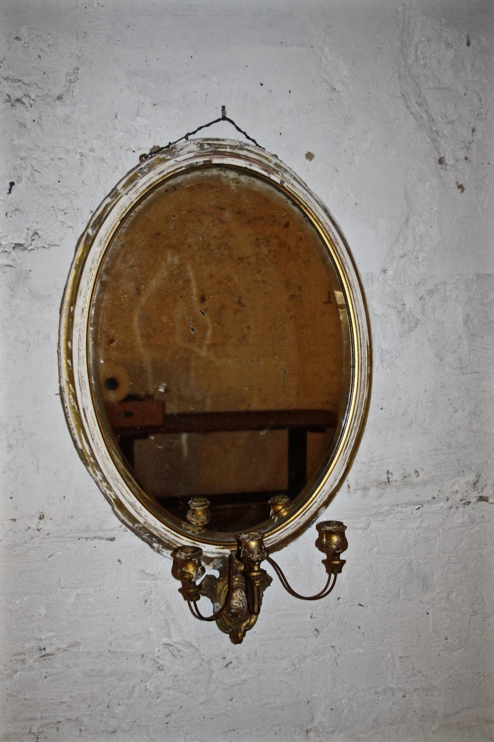 French Oval Girandole Mirror
