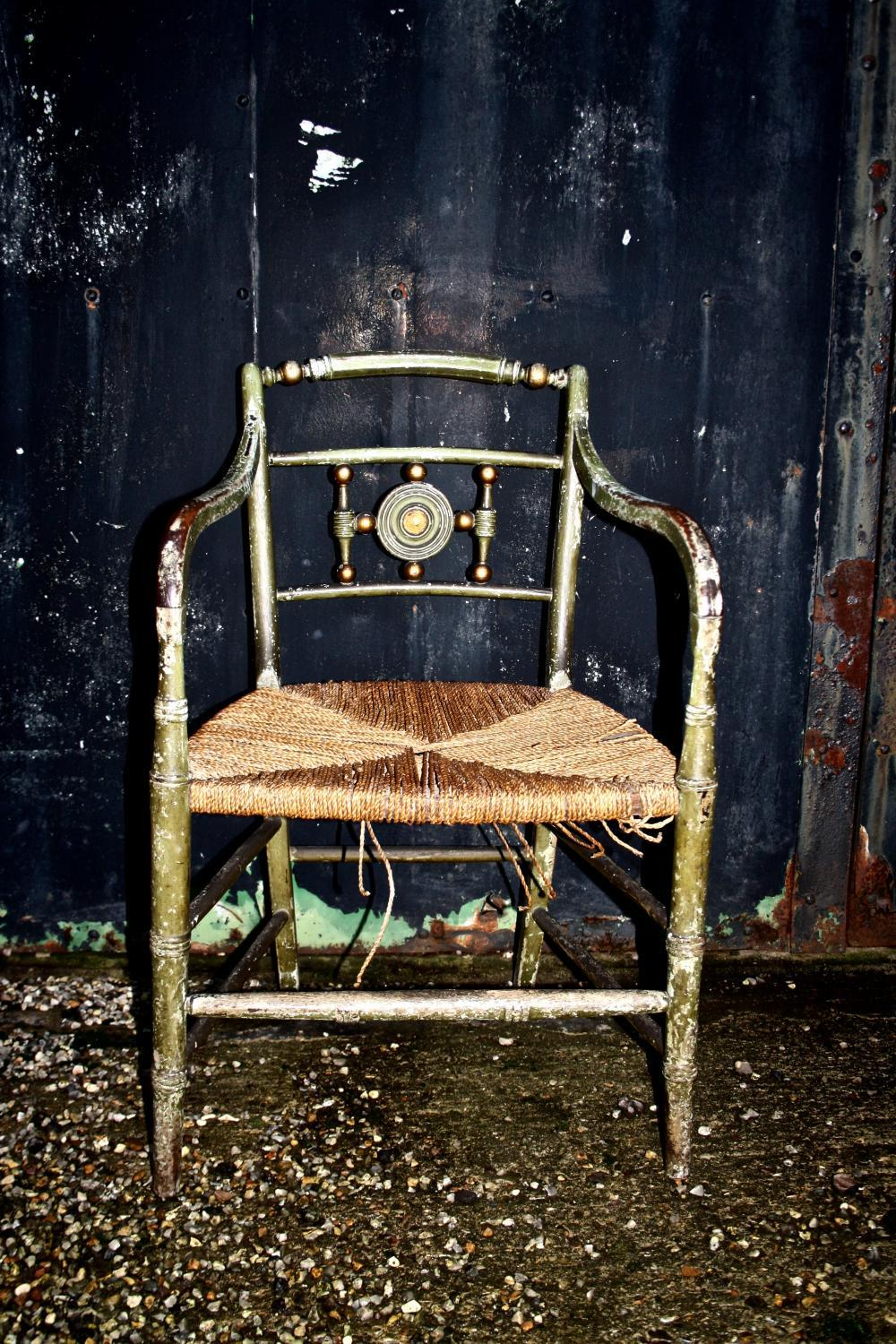 Regency Painted Armchair with Rush Seat