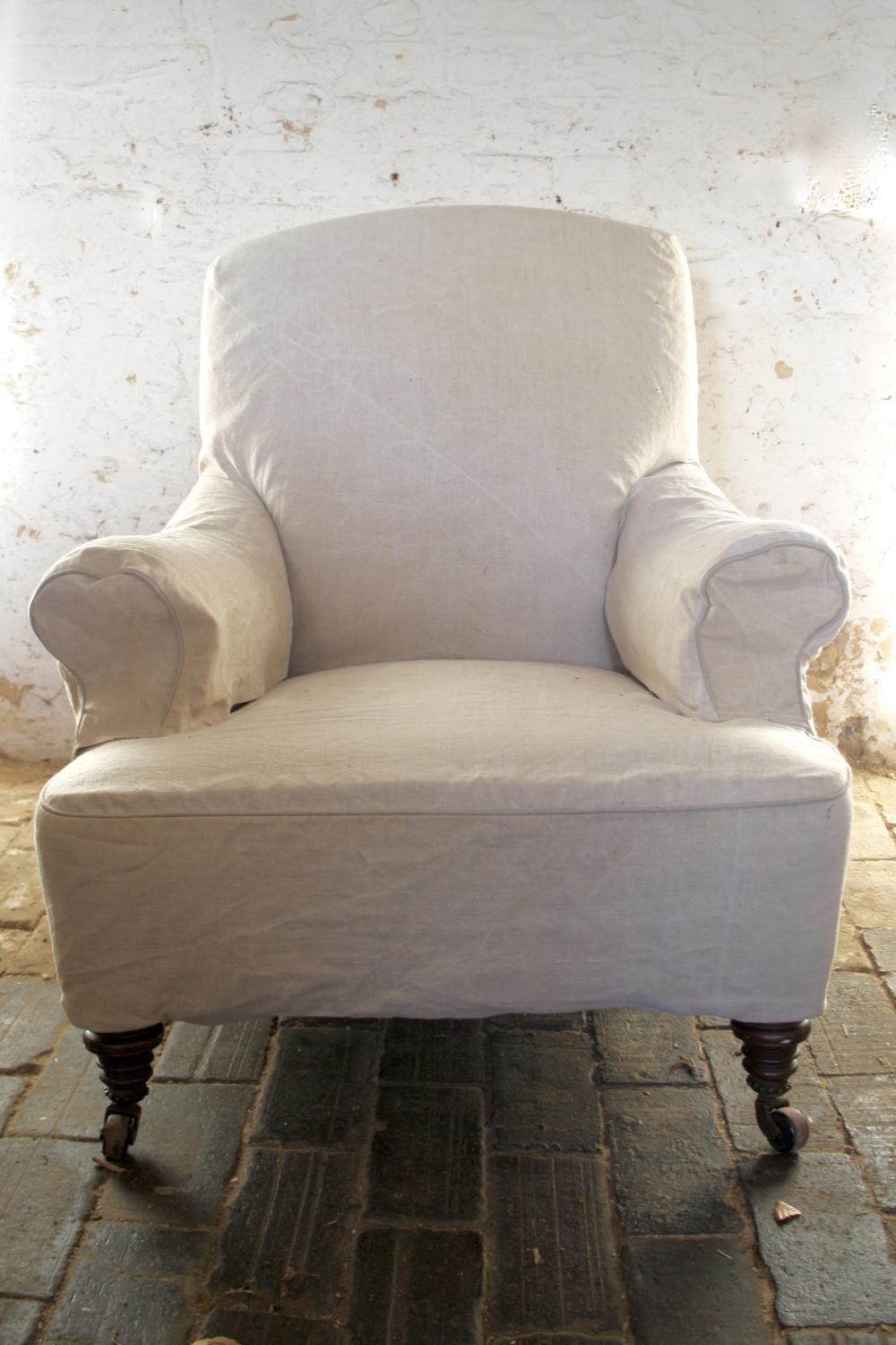 Early 1900 S Cream Linen Armchair In Seating