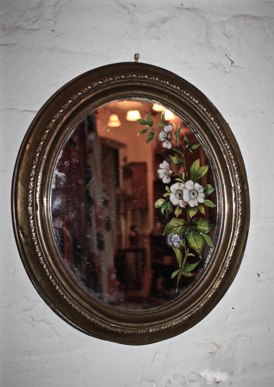 Brass Framed Floral Mirror