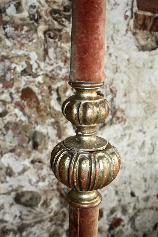 Velvet and giltwood lampbase